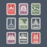 邮票的汇集从不同的国家的有建筑地标的,传染媒介例证,城市盖印与 库存照片