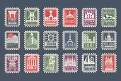 邮票的汇集从不同的国家的有建筑地标的,传染媒介例证,城市盖印与 库存例证