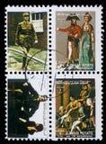 邮票的汇集在显示图片的著名男人和妇女的阿吉曼打印了 免版税库存图片