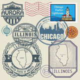 邮票设置了与伊利诺伊名字和地图  免版税库存照片