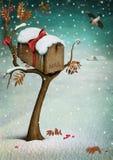 邮箱在冬天森林里。 库存例证