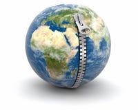 邮编和地球(包括的裁减路线) 向量例证