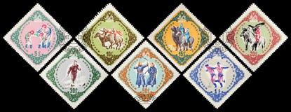 邮费s标记u 蒙古 人` s Repub的第40周年 库存图片