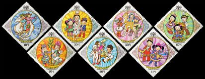 邮费s标记u 蒙古 孩子的1979国际性组织年 免版税库存照片