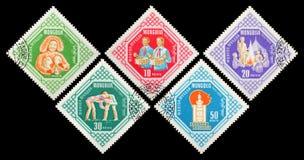 邮费s标记u 蒙古 蒙古青年时期Mo第40周年  免版税库存图片