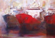 邮轮船,现代手工制造绘画 库存照片