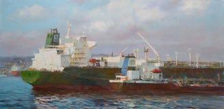 邮轮船,经典手工制造绘画 免版税库存图片