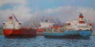 邮轮船,经典手工制造绘画 免版税库存照片