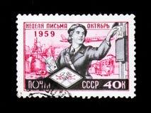 邮递员,星期信件,大约1959年 免版税库存照片