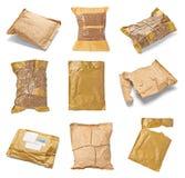 邮件包裹信封箱子半新开放邮政 免版税库存照片