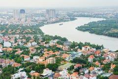 邵族Dien村庄区域,日落的胡志明市,越南全景  图库摄影