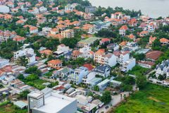 邵族Dien村庄区域,日落的胡志明市,越南全景  免版税库存照片