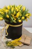 郁金香和含羞草明亮的春天花束开花 库存照片