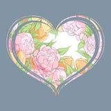 郁金香和牡丹在心脏 免版税库存照片