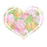郁金香和牡丹在心脏 免版税图库摄影