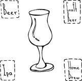 郁金香啤酒杯 手拉的传染媒介Illustraition 库存照片
