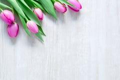 郁金香在木桌上开花妇女3月8日,国际 库存照片