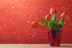 郁金香开花在bokeh背景的花束 免版税库存照片