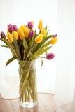 郁金香新鲜的花束在花瓶,充分美好的早晨的爱 免版税库存照片