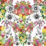 郁金香的水彩例证开花,无缝的样式 图库摄影