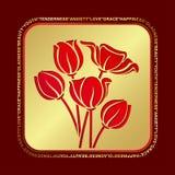 郁金香红色花束为妇女的天 库存例证