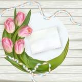 郁金香花束在土气木板的 10 eps 免版税图库摄影