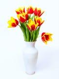 郁金香花束在花瓶的 免版税库存图片