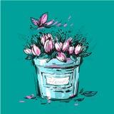 郁金香花梢花束在一个桶的您的设计 免版税图库摄影