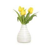 郁金香花瓶黄色 库存照片