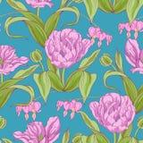 郁金香花的样式与叶子的 免版税库存照片