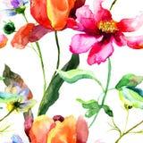 郁金香花的水彩例证 库存照片