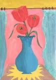 郁金香水彩静物画在花瓶的 免版税图库摄影