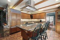 郊区家庭的厨房 图库摄影