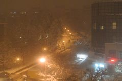 郊区街道在冬天夜 库存图片