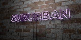 郊区-在石制品墙壁上的发光的霓虹灯广告- 3D回报了皇族自由储蓄例证 库存照片