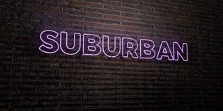 郊区-在砖墙背景的现实霓虹灯广告- 3D回报了皇族自由储蓄图象 免版税库存图片