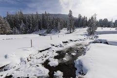 部分与一个新多雪的风景的冻小河在瑞士 免版税图库摄影