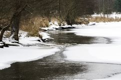 部分地冻河在冬天 免版税库存照片