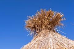 部分小屋的秸杆屋顶 免版税库存照片