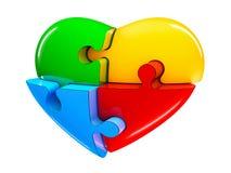4部分拼图心脏在白色背景隔绝的图例证 图库摄影