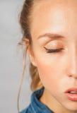 部分面孔白肤金发的眼睛 免版税库存照片