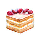 部分饼干蛋糕用草莓 背景查出的白色 免版税库存照片