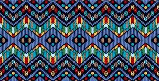 部族传染媒介装饰品 无缝非洲的模式 有V形臂章的种族地毯 阿兹台克样式 库存例证