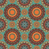 部族坛场样式无缝的样式的boho别致的设计与南西部颜色口气 免版税库存照片