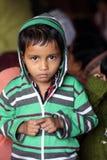 部族孩子画象在村庄Baidyapur,印度 图库摄影