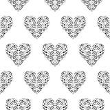 部族心脏形状装饰品无缝的传染媒介样式 免版税库存照片