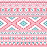 部族无缝的样式,阿兹台克桃红色和绿色背景 免版税库存图片