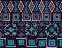部族无缝的样式 印地安或非洲种族邮票样式 纺织品的手拉的传染媒介图象,装饰 免版税库存图片
