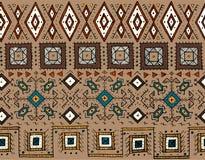 部族无缝的样式 印地安或非洲种族邮票样式 纺织品的手拉的传染媒介图象,装饰 免版税库存照片