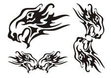 部族火焰状狮子头和元素从它 免版税图库摄影